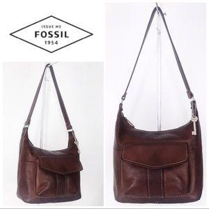 Fossil Whiskey Leather Shoulder Bag & FREE WALLET!